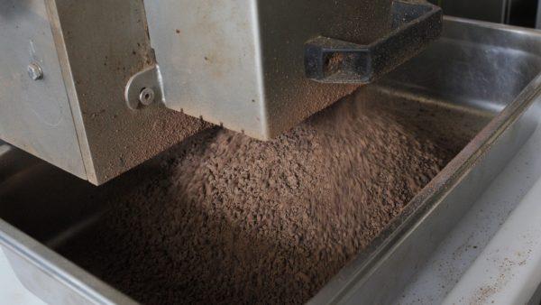 Grounding fresh ground chocolate